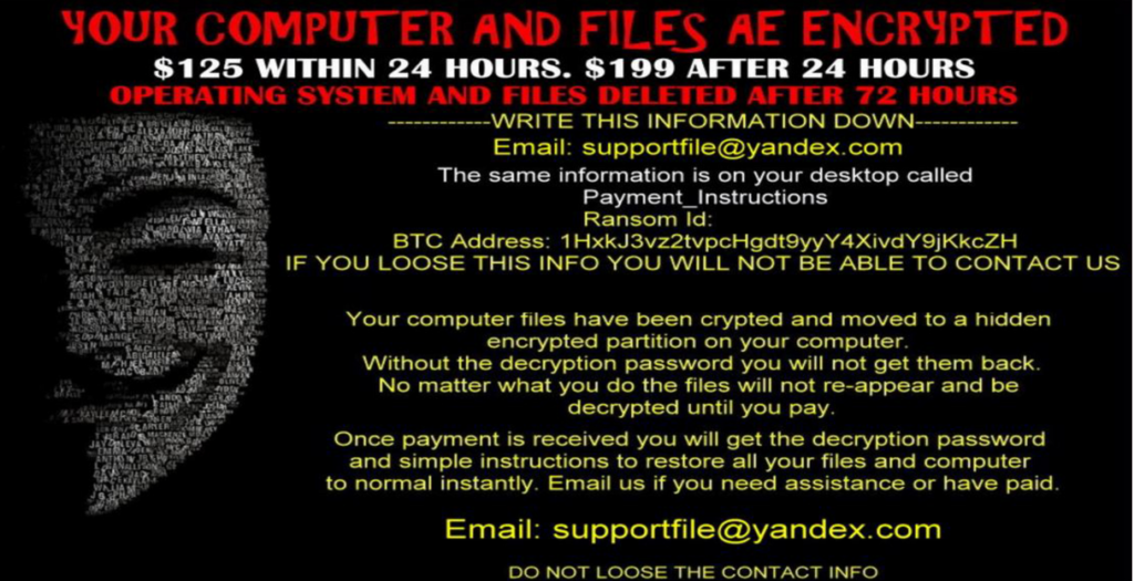 lock-screen ransom message of AnonPop ransomware