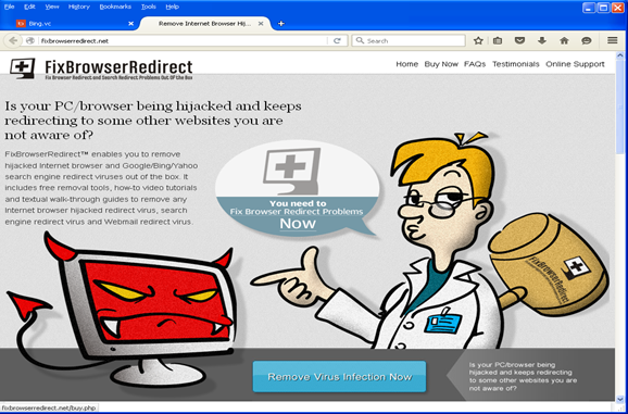 a redirect to a rogue security site