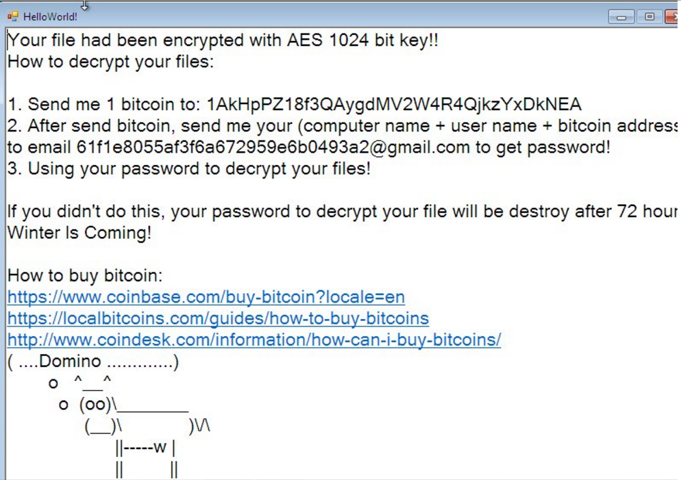 domino-ransomware-note-helloword-bestsecuritysearch