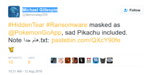 pokemon-go-ranomware-pikachu-sad-Michael Gillespie-twitter-bestsecuritysearch