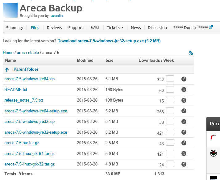 The Areca Download page