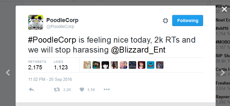 poodlecorp-tuesday-tweet-for-the-ddos-attack-against-blizzard