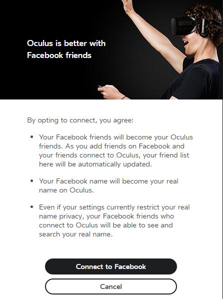 Facebook Oculus integration message image