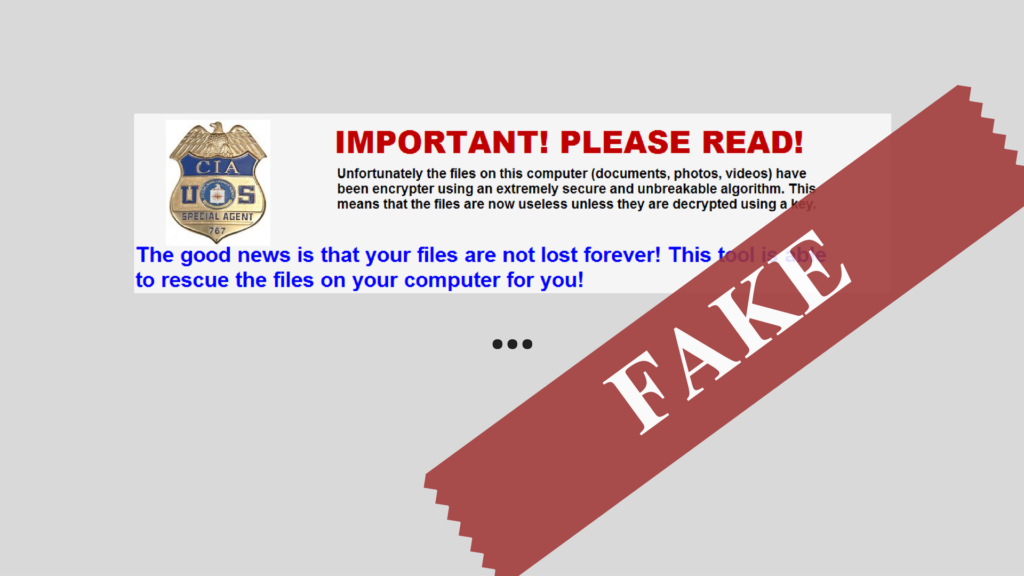 CIA Special Agent 767 Ransomware Virus (Removal and Protection)