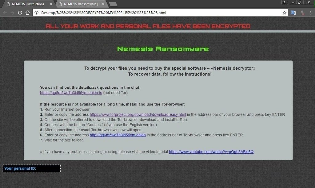 Nemesis Ransomware Virus (Removal Steps and Protection Updates)