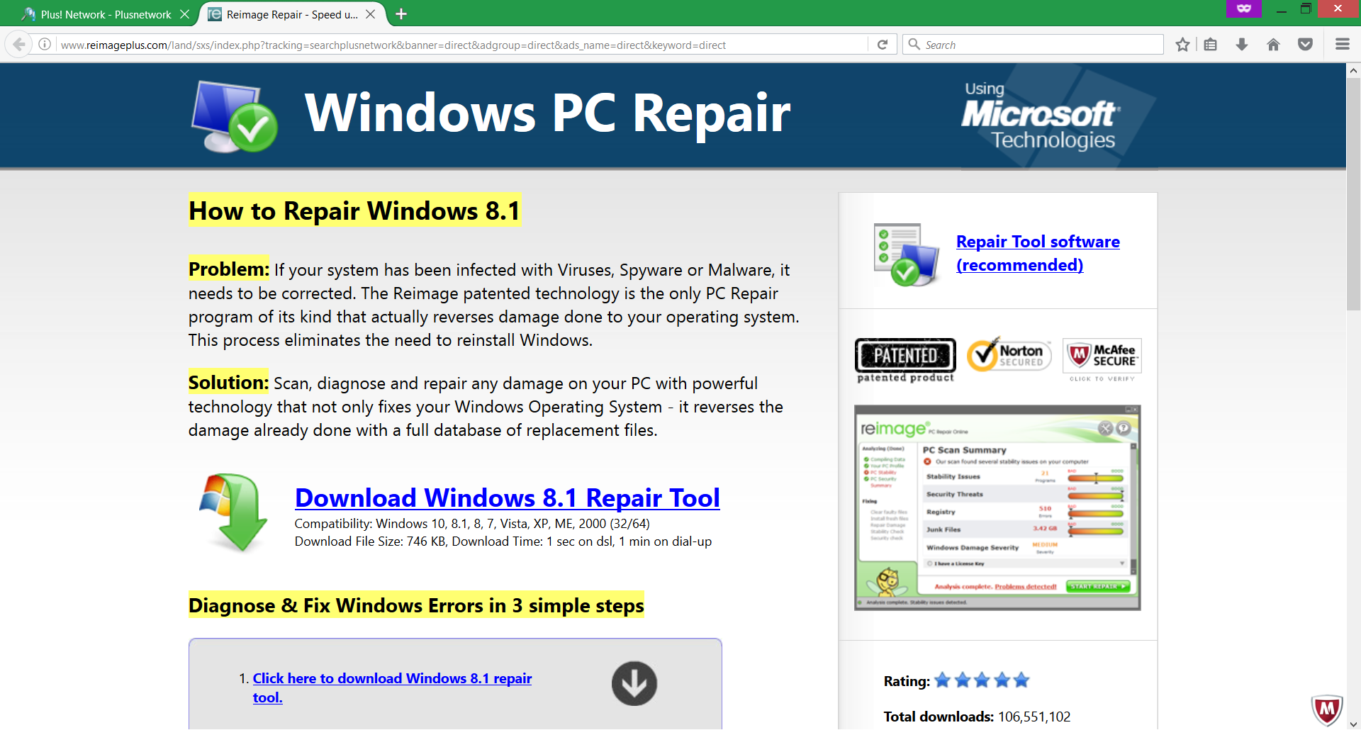 windows-pc-repair-reimage-repair-potentiallly-unwanted-program-provided-via-plus-network