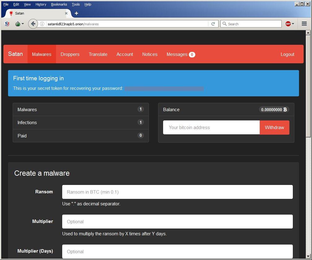 satan ransomware raas platform interface and options