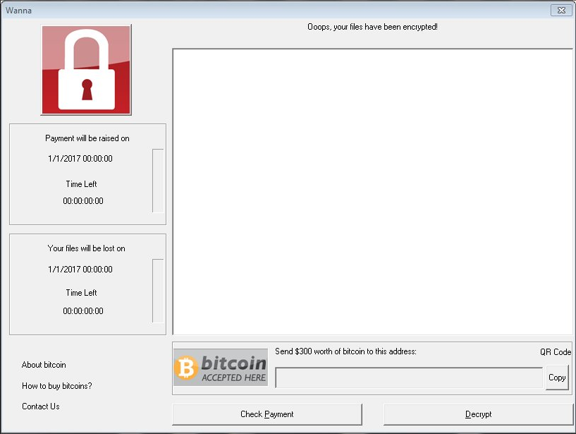 WannaCry ransomware application window