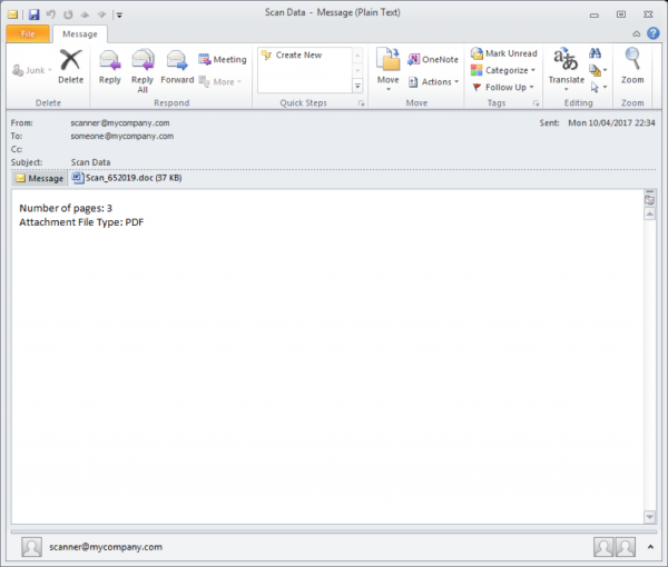 Dridex Trojan Email Spam Message Image
