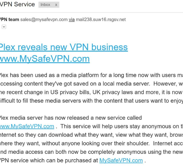 MySafeVPN Scam Email Messages
