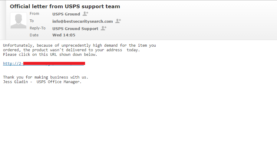 usps support team scam email send to bestsecuritysearch mole ransomware distribution