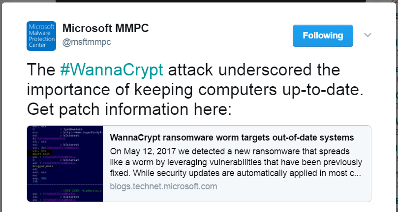 Microsoft-malware-protection-center-tweet-how-to-protect-wannacry-virus
