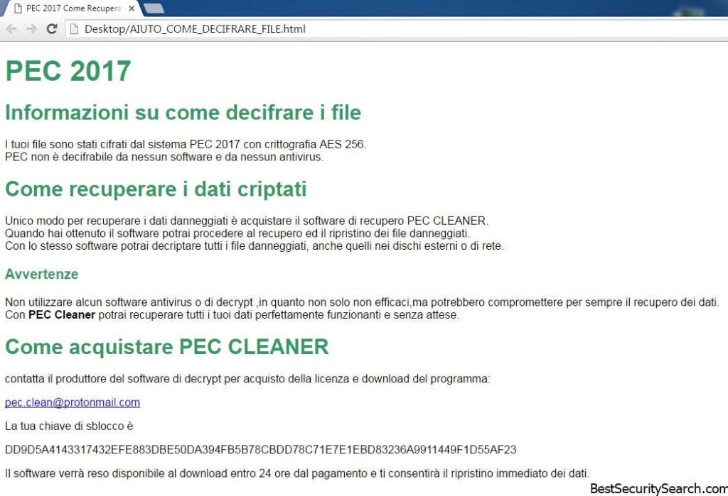 PEC 2017 ransomware note featured image