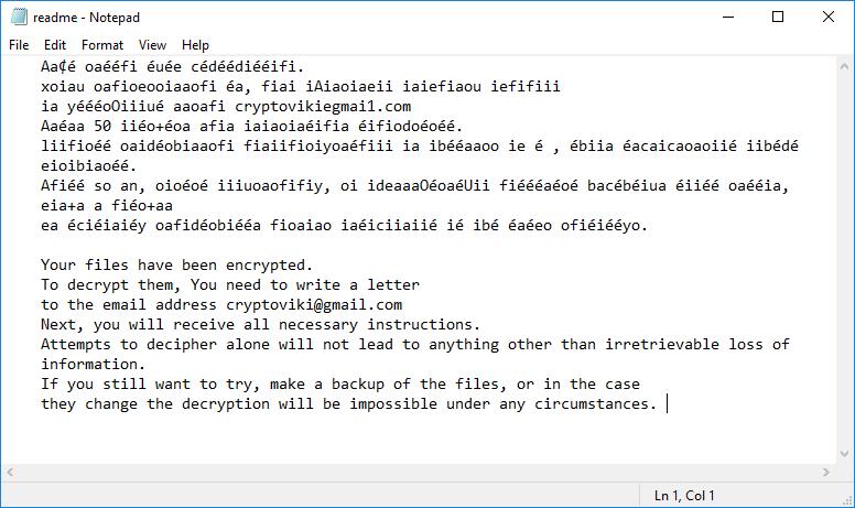 Viki virus ransomware note featured image