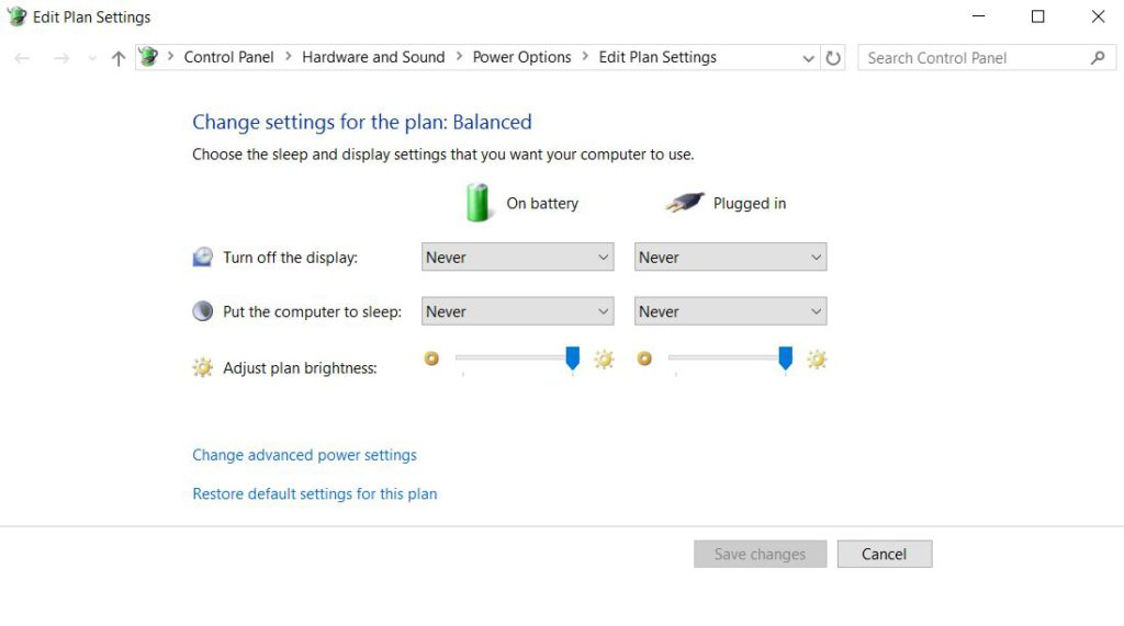 windows power settings set all to never