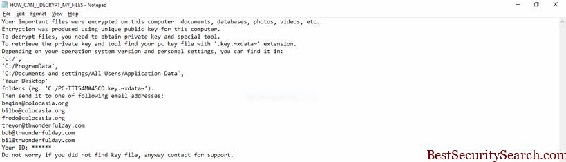 XData virus ransomware note image