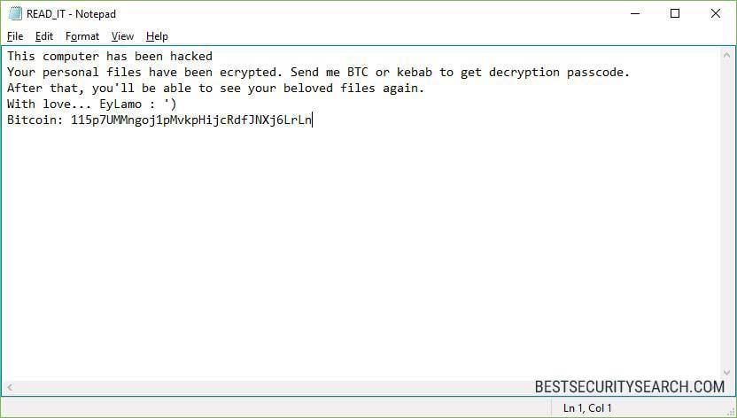 EyLamo Virus ransomware image