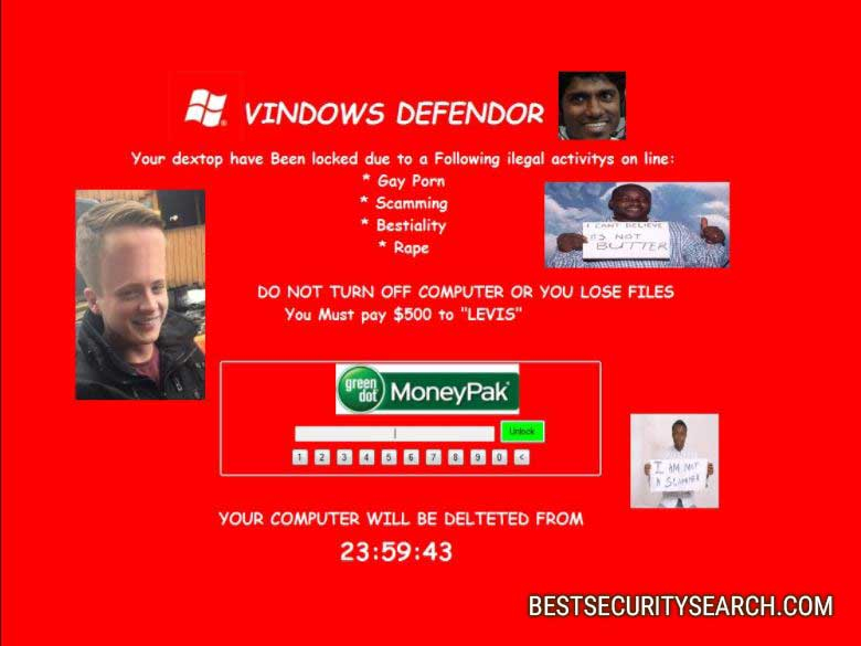 VINDOWS DEFENDOR ransomware image