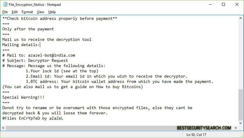 aZaZeL Ransomware note image