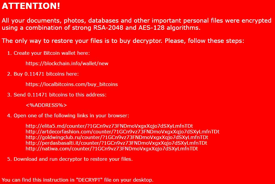 new nemucod ransomware virus ransom note red colored decrypt.txt bestsecuritysearch