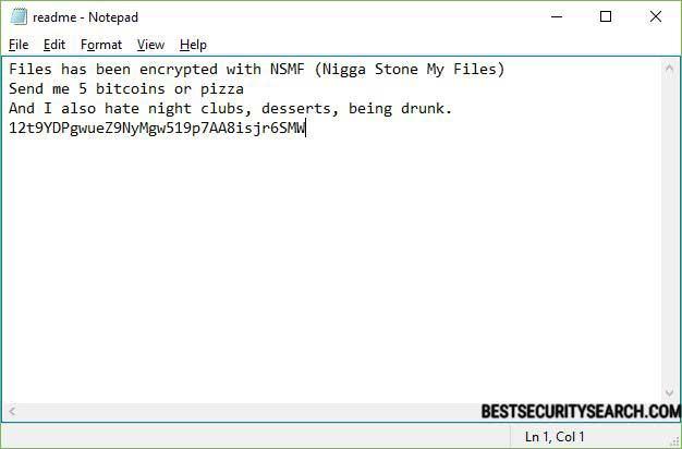 NSMF file virus ransomware note image