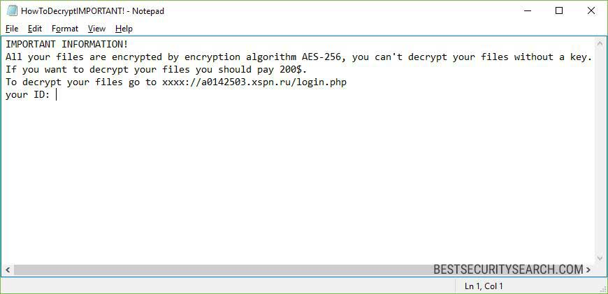 Spectre Ransomware Note