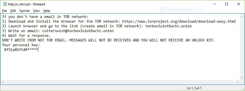 Yyto virus ransomware note image