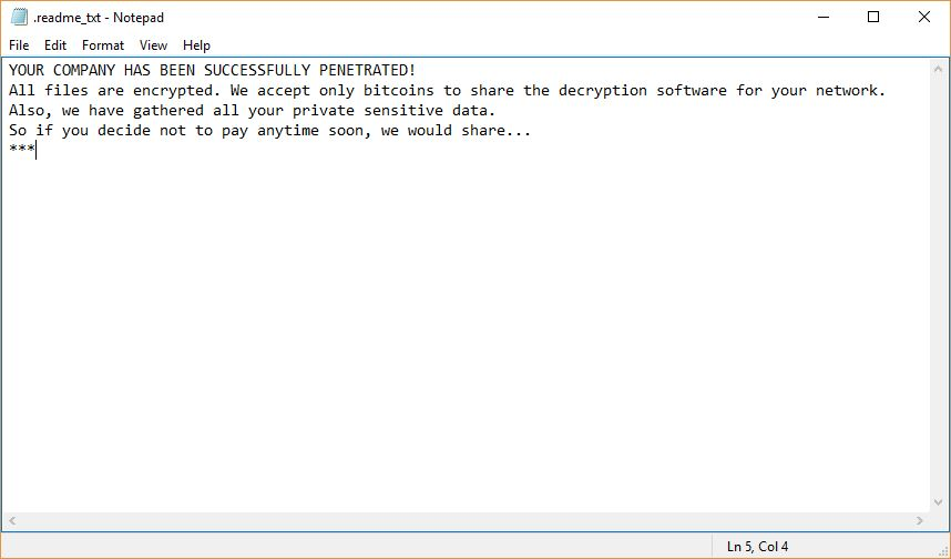 Bitpaymer Virus ransomware note