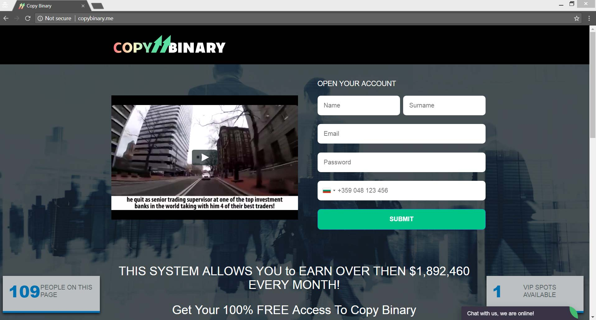 Binary options malware