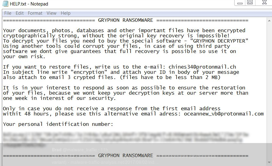 Gryphon ransomware note image