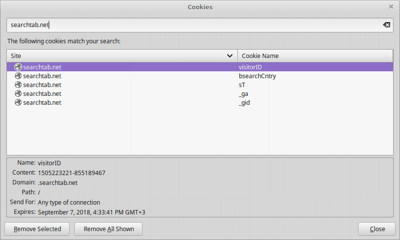 Searchtab.net browser hijacker cookies