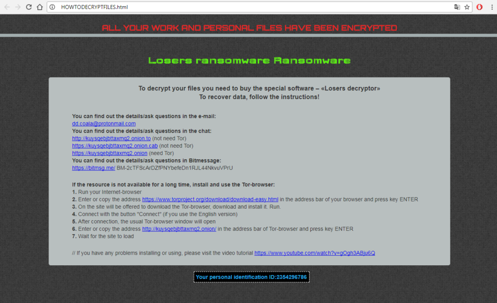 HOWTODECRYPTFILES Losers Ransomware Virus removal guide bestsecuritysearch