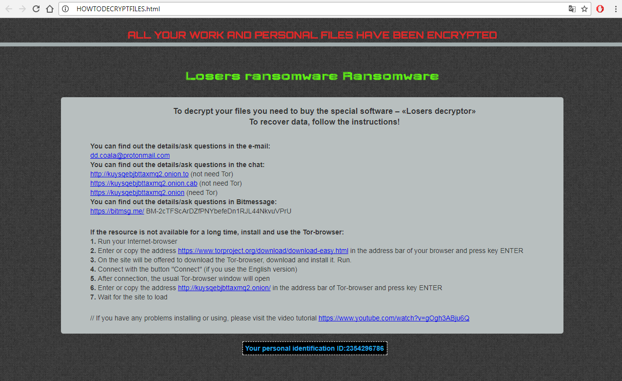 Losers ransomware virus removal guide recover losers files baditri Image collections