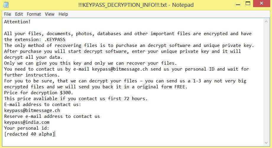 KEYPASS ransomware virus ransom note !!!KEYPASS_DECRYPTION_INFO!!!.txt image