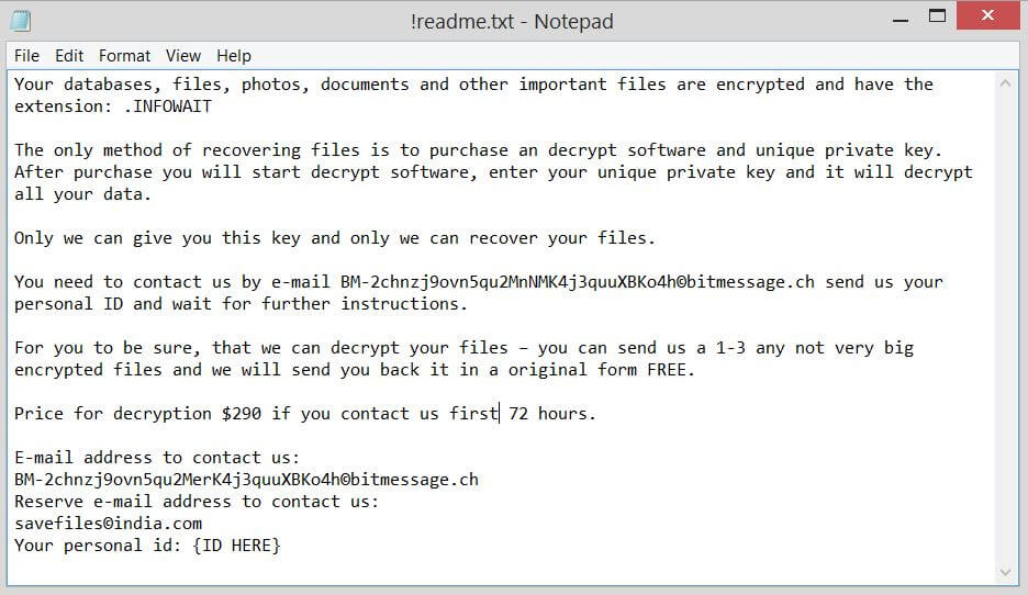 !readme.txt ransom note of .INFOWAIT virus bestsecuritysearch
