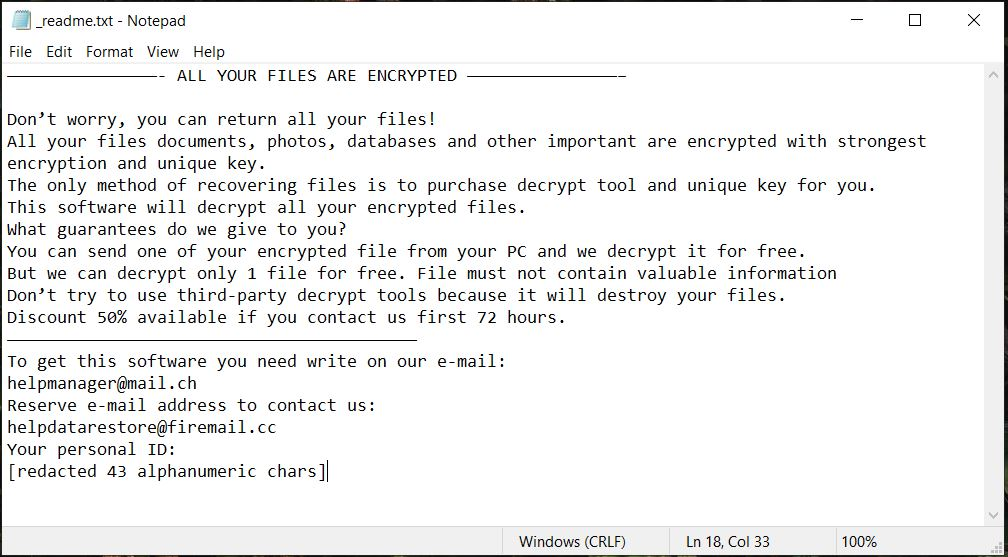Koti ransomware readme ransom message virus removal guide